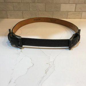 Worth Black Ostrich Embossed Belt.  NWOT.  Large